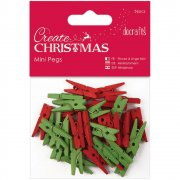 Docraft Create Christmas -  Mini Pegs Red/Green - 36 st