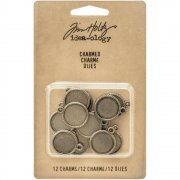 Metallcharms - Tim Holtz - Round Charms Antique Nickel