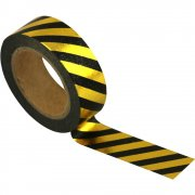 Washi Tape - Gold Black Stripes 10m