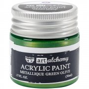 Finnabair Alchemy Acrylic Paint - Metallique Green Olive