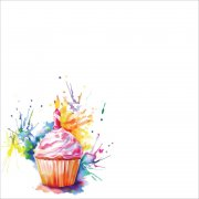 Papper - Ella & Viv - Watercolor Party - Cupcake