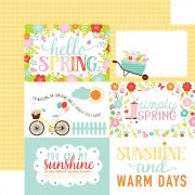 "Papper Echo Park - Hello Spring - 4""X6"" Journaling Cards/Yellow Check"