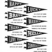 "Tim Holtz Cling Stamps 7""X8.5"" - Pennants"