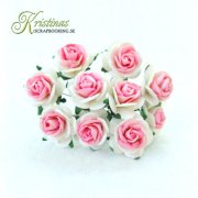 Mulberry Rose - 10 mm - White / Cerise