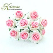 Mulberry Rose - 15 mm - White / Cerise
