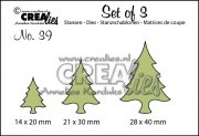 Dies - Set of 3 - Christmas trees thin - Crealies