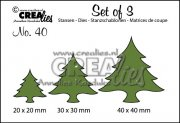 Dies - Set of 3 - Christmas trees wide - Crealies