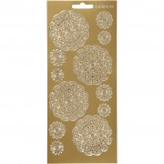 Stickers - 10x23 cm - Guld - Blommor