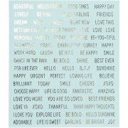 Stickers - Words - 10 x 11,5 cm - Turkos - 4 st