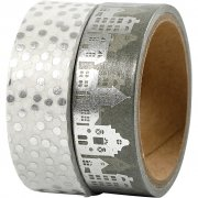 Washitejp - Silver - Hus & prickar - Folie - B: 15 mm - 2st x 4m