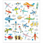 Stickers - 15x16,5 cm - 42 st - Flygplan & Helikopter