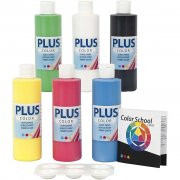 Plus Color Hobbyfärg  - 6 x 250 ml - Färgskola - Primärfärger