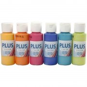 Plus Color hobbyfärg - Mixade färger - Colorful - 6 x 60 ml