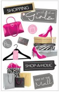 3D Stickers Glitter - Shopping Girls - Paper House