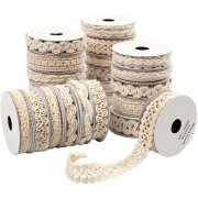 Dekorationsband med spets - 6-18 mm - Cream - 56 x 0,9m