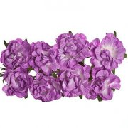 Curly Rose 30mm - Scrapberry's - 8 st Purple
