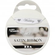 Satinband Wedding 10mm - Vit 8 meter - Happy Moments