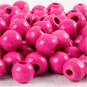 Träpärlor - 12 mm - Rosa - 22 g - ca 40 st