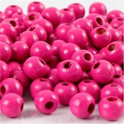 Träpärlor - 8 mm - Rosa - 15 g - ca 80 st