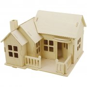 3D Pussel - Hus med terass - 19 x 17,5 x 15  - Plywood