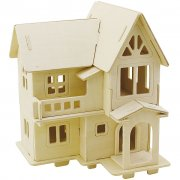 3D Pussel - Hus med altan - 15,8 x 17,5 x 19,5  - Plywood