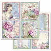 Papper Stamperia - Hortensia - 4 Cards