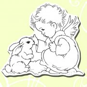Stampendous - Cling Rubber Stamp - Bunny Cherub