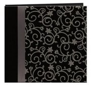 "Album 12""x12"" - Scroll Embroider With Ribon Black"