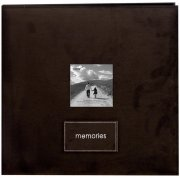 "Album 12""x12"" - Embroidered Patch Faux Suede - Dark Brown"