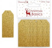 Dovecraft - Christmas Basics - Gold Glitter Tags