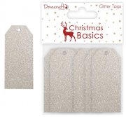 Dovecraft - Christmas Basics - Silver Glitter Tags