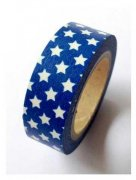 Washi Tape - Blue W/White Stars 10m