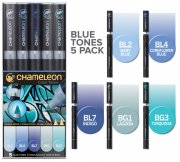 5-pack Blue Tones Set - Chameleon Pen Marker