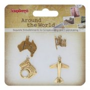 Charms Scrapberrys - Around the world - 4 st