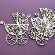 Chipboard Die Cuts - Vintage Barnvagn - 3st - 75mm