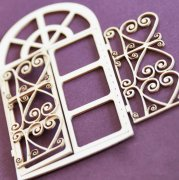 Chipboard Die Cuts - Window with openwork lattice
