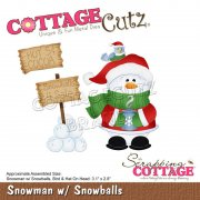 CottageCutz Die - Snowman with Snowballs