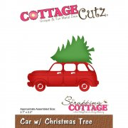 CottageCutz Die - Garden Friends - Car W/Christmas Tree