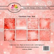 Paper Pad Dixi Craft 6x6 - Christmas Time - Röd - 32 ark