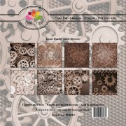 Paper Pad Dixi Craft 6x6 - Gears Background - Brun - 32 ark
