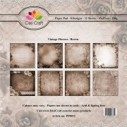 Paper Pad Dixi Craft 6x6 - Vintage Flowers - Brown - 32 ark