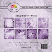 Paper Pad Dixi Craft 6x6 - Vintage Flowers - Purple - 32 ark