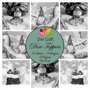 Dixi Crafts Toppers - 9x9cm - Gnome & Snowman - Grey