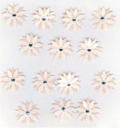 Stickers Creme Blommor med Rhinestones - 14 st
