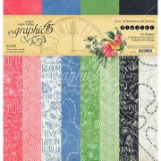 Graphic 45 12x12 Paper Pad Patterns & Solids - Flutter