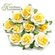 Mulberry Rose - 15 mm - Yellow / Off White