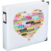 "D-Ring Album 12""X12"" - Project Life Heidi Swapp - Printed White Heart"