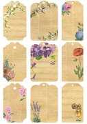 Vintage Foton A4 Reprint - Flower Tags