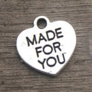 Charms 10 st - Made For You Heart Silver 16 mm