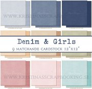 Cardstock Paket - Maja Design - Denim & Girls - 9 ark